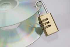 CD's with padlock Stock Photography