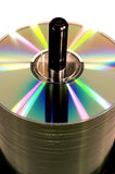 Cd's on a spindle Royalty Free Stock Images