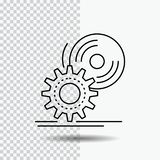 CD, schijf, installeert, software, dvd Lijnpictogram op Transparante Achtergrond Zwarte pictogram vectorillustratie stock illustratie