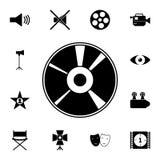 CD schijfpictogram Gedetailleerde reeks bioskooppictogrammen Grafisch het ontwerppictogram van de premiekwaliteit Één van de inza stock illustratie