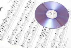 CD on sheet music. Royalty Free Stock Image