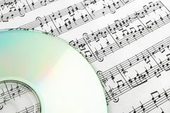 CD on sheet music Royalty Free Stock Photo