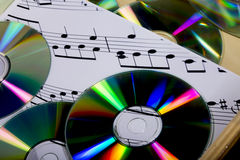 Cd and sheet music Royalty Free Stock Photo