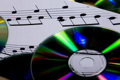 Cd and sheet music Stock Images