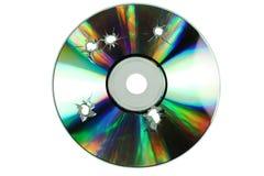 CD-SKIVA med hålen av skotten Royaltyfria Foton