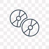 CD-SKIVAvektorsymbol som isoleras på genomskinlig bakgrund, lin stock illustrationer