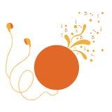 cd spelare med hörlurar med virvlar och musikaliska anmärkningar Arkivfoto