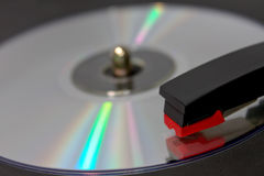 CD Spinning on Vinyl Record Player Royalty Free Stock Image