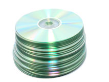 CD stack. Isolated on white background Stock Photo