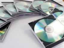 CD Stack. Stack of blank CD disks in jewel cases arranged in circle Stock Image