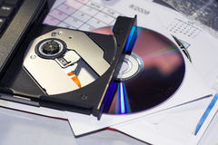 Cd tray and disc Stock Photography