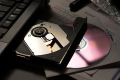Cd tray and disc Royalty Free Stock Image