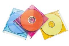 CD tre i askar Arkivbilder