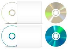 CD - uppsättning för DVD-pappersräkning på vit Arkivbild