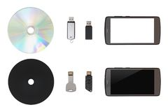 CD, USB flash drive, mobile on white isolated background Royalty Free Stock Images