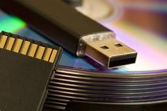 Cd, USB, scheda di deviazione standard fotografie stock