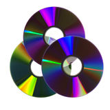 Cd variopinti/DVDs Fotografie Stock Libere da Diritti