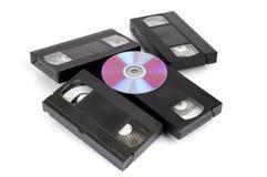 CD versus VHS. Stock Foto's