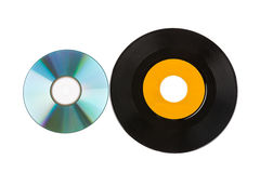 Cd and vinyl record isolated Stock Photo