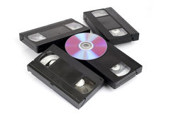 CD vs VHS. Stock Photos