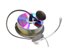 Cd y auriculares Imagen de archivo