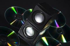 Cd y cajas de música fotos de archivo