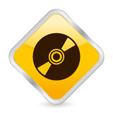 CD yellow square icon Royalty Free Stock Photography