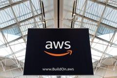CDG Airport, Paris - 12/22/18: AWS amazon cloud services brand logo royalty free stock image
