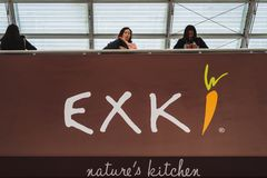 CDG Airport, Paris - 12/22/18: Exki logo standing above the healthy food shop