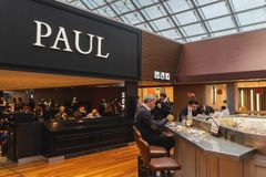 CDG Airport, Paris - 12/22/18: Paul logo above food court area in Paris airport