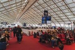 CDG Airport, Paris - 12/22/18: People passengers waiting to board