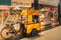 CDG Airport, Paris - 12/22/18: Toblerone promo stand in sweets shop at airport