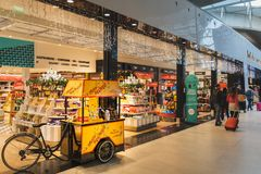 CDG Airport, Paris - 12/22/18: Toblerone promo stand in sweets shop at airport stock image