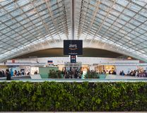 CDG Paris Airport - 12/22/18: Terminal 2F boarding area stock photography