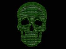 Código binario y cráneo del esqueleto Imagen de archivo libre de regalías
