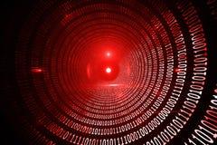 Código binário vermelho brilhante Foto de Stock