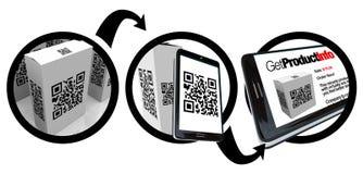 Código de la caja QR del producto de la exploración con el teléfono elegante Foto de archivo