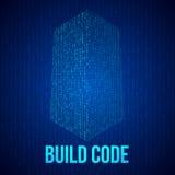 Código de los rascacielos Forma digital binaria de edificio futurista de la ciudad Fotografía de archivo libre de regalías