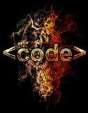Código, ejemplo del número con efectos del cromo y fuego rojo o Fotografía de archivo libre de regalías