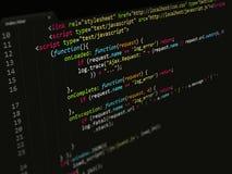 Código, Javascript no editor de texto Imagens de Stock Royalty Free