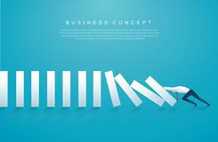 Businessman stopping the domino effect. business concept vector illustration EPS10.  vector illustration