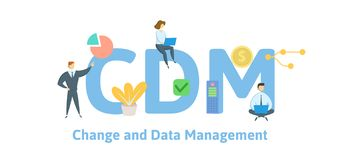 CDM, Change and Data Management. Concept with keywords, letters and icons. Flat vector illustration. Isolated on white royalty free illustration