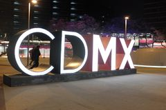 CDMX signage in a plaza in Mexico City, Mexico. CDMX, the acronym for Mexico City, is lit up in large letters in a plaza in Mexico City, Mexico stock images