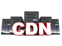 CDN. Or content distribution network concept, geographically spread out locations for serving static content offloads and speeds up main web and application Royalty Free Stock Photography