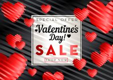 Valentines day sale background. With red heart pattern. Vector illustration. Wallpaper, flyers, invitation, posters, brochure, banners stock illustration
