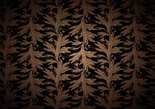 Vintage Gothic background in gold, bronze, caramel, chocolate, and black with classic floral Baroque pattern. Rococo with darkened edges, vector Eps 10 stock illustration