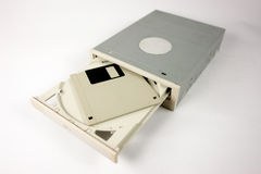Cdrom unit with diskette. Cdrom floppy technology old diskette computer compact disc royalty free stock photos