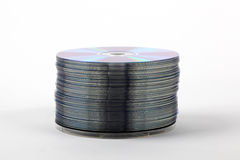 CDs arranged in a stack. Ready for burning stock image