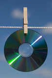 A CDs On A Clotheslines Stock Image