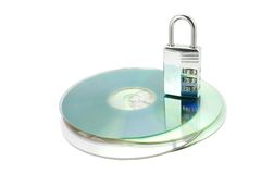 CDs with combonation lock. Closed combination lock on CD's Royalty Free Stock Images